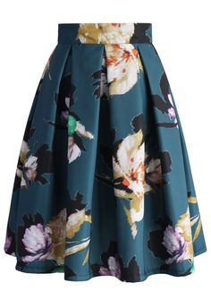 Floral Illusion Pleated Skirt in Teal - Skirt - Bottoms - Retro, Indie and Unique Fashion