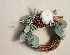【12月中10%OFF!】白いコットンとユーカリのリース by AJU PLANTS DECO フラワー・ガーデン プリザーブドフラワー