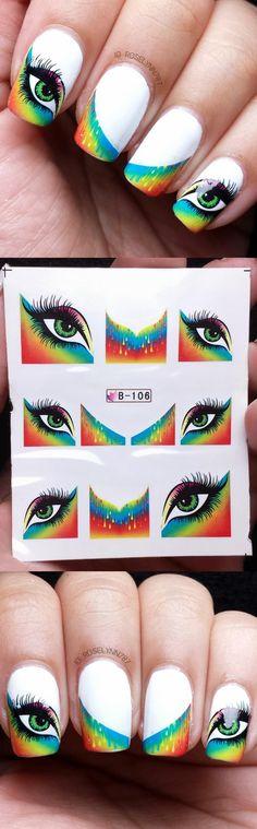 $ 2,86 1sheet extravagantes Olhos de penas coloridas prego Borda Francês decalques de água Sticker Transferir Adesivos B105 / B10 - BornPrettyStore.com