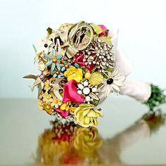 vintage brooch bouquet for a bridal shower