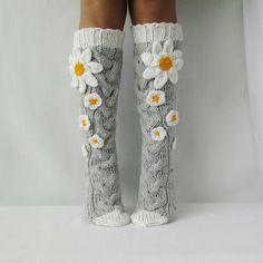 Camomile socks flower knee socks, knit socks womens, Hand knit knee socks, Flower socks, woman leg w – Knitting Socks Knitting Socks, Hand Knitting, Knitting Patterns, Crochet Patterns, Knit Socks, Crochet Shoes, Crochet Slippers, Knit Crochet, Womens Wool Socks