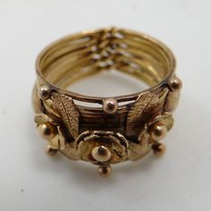 Vintage Yellow Gold Puzzle Ring 11 Strand Paraguayan Wedding Band