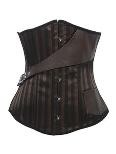 Serre taille corset marron rayé noir steampunk avec sangle > STEAMPUNK STORY - VETCOR646