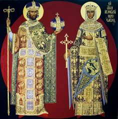 St Constantine and St Helen the Equal-to-the-Apostles Byzantine Icons, Byzantine Art, Catholic Saints, Patron Saints, Religious Icons, Religious Art, St Constantine, Greek Icons, Saint Helens