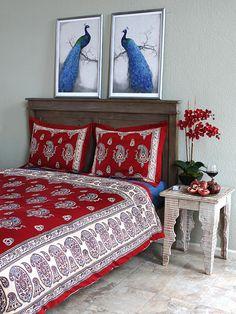 Dancing Paisleys ~ Paisley Print Vintage Red Twin Duvet Cover