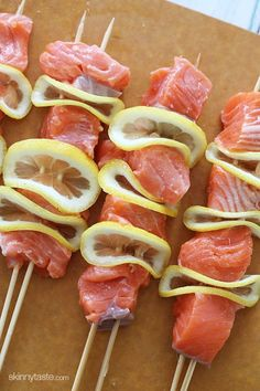 I love Salmon and lemon! Match made in heaven!! Grilled Salmon Kebabs | Skinnytaste