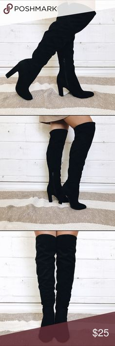 NEVER WORN! black over the knee, heeled boots these faux suede over the knee boots have never been worn! they are in perfect condition and great for a night on the town or going out to dinner. no trades. Unisa Shoes Over the Knee Boots