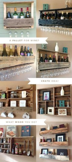 Reclaimed Pallet Shelves. Genius and beautiful!