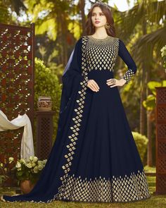 Blue Zari Embroidered Georgette Anarkali Salwar Kameez Suit (Unstitched) लिबास Photograph लिबास PHOTOGRAPH | IN.PINTEREST.COM WHATSAPP EDUCRATSWEB
