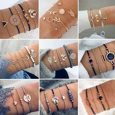 Online shopping for Bracelets with free worldwide shipping Layered Bracelets, Silver Bracelets, Bangles, Beaded Bracelets, Charm Bracelets, Shell Bracelet, Bracelet Set, Cute Jewelry, Jewelry Accessories