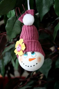 My finished adorable recycled light bulb snowman