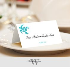 Wedding Place Cards, Beach Wedding Escort Cards, Hawaiian Turtle Print, Tented or Flat - Set of 12 by Wedsclusive on Etsy https://www.etsy.com/listing/267820799/wedding-place-cards-beach-wedding-escort