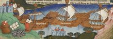 The Greeks prepare to sail, from John Lydgate's Siege of Troy. Rylands MS English 1, fol. 57v. Mid 15C (English). John Rylands Library, Manchester.