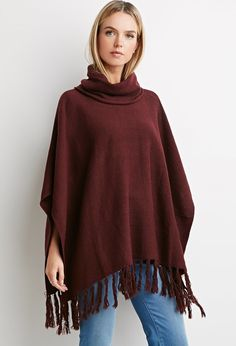 FOREVER 21+ Contemporary Fringed Hem Poncho