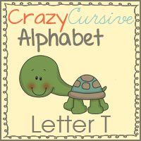 Free Tt is for Turtle Cursive Set - Crazy Cursive Alphabet