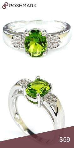 Natural Peridot Ring Size 8 Natural Peridot and White Topaz Ring, Size 8, ~ .925 Sterling Silver ~  Beautiful Fine Jewelry Jewelry Rings