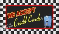 """We accept Credit Cards Decal 14"""" Concession  Restaurant Food Truck Vinyl Sticker #HarbourSigns"""