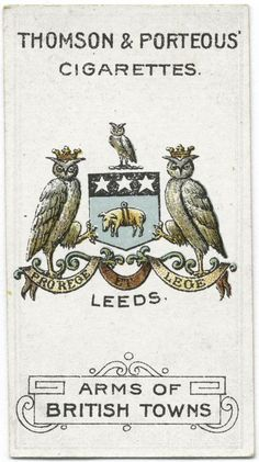 Arms of British Towns. Owl Logo, Pin Up Posters, Collectible Cards, Retro Advertising, Light My Fire, Owl Art, Illuminated Letters, Old Postcards, Vintage Cards