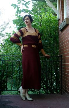 Canadian Etsy Seller of Vintage: 1930s Burgundy & Goldenrod Crocheted Dress. Those sleeves were awesome!
