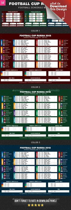 BST, cet, champions, championship, cup, fifa, fifa 2018, flags, football, football schedule, indd, match, match schedule, overview, program, russia, russia 2018, schedule 2018, soccer, soccer schedule, stadium, summer 2018, tournament, uefa, wall chart, world, world 2018, world cup, world cup 2018 A clean, crisp, high impact Full Soccer Schedule Template Layout, very easily customize to make it your own in seconds! Schedule is ready for Soccer World Cup in Russia 2018. Pack included: ...