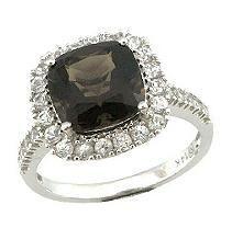 Smoky Quartz & White Sapphire Ring in 14K White Gold