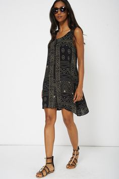 10a62f78be2 Black Abstract Print Swing Dress