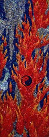 """Tom Atkins, """"Fire and Ice"""". Check out the tiny Yin-Yang in the center which gives the quilt an extra dimension in meaning."""