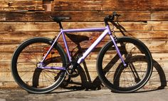 this is our Monster: Single Speed/ Fixie Purple and Matte Black 52 CM alloy frame.  #cycling #biking #bikes