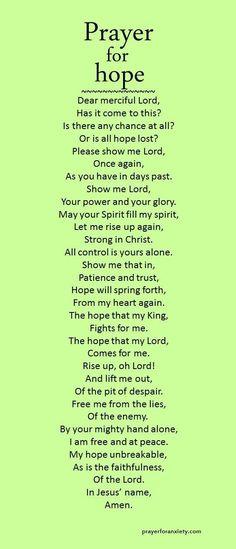 Prayer for hope:
