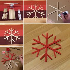 Christmas Tree Decorations For Kids, Diy Christmas Snowflakes, Christmas On A Budget, Christmas Ornament Crafts, Christmas Crafts For Kids, Craft Stick Crafts, Christmas Projects, Holiday Crafts, Christmas Diy