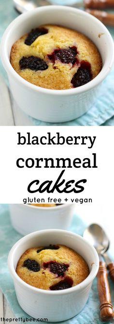 These gluten free blackberry cornbread cakes are a delicious summer treat!