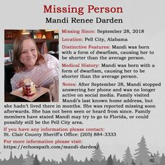 The disappearance if Mandi Renee Darden on September 2018 in Pell City, Alabama. Have You Seen, Did You Know, Pell City, Investigation Discovery, Mysteries Of The World, Bring Them Home, Missing Persons, Cold Case, Medical History