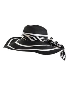 Floppy Hat - black and white stripe and zebra print scarf band. $40 Marisota at simplybe.com