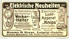 """Original-Werbung/Anzeige 1912 - WECKER-HALTER / LICHTAPPARAT  """"KNIPS"""" - HEMME & HOYER /LEIPZIG - GOHLIS - ca. 80 x 45 mm"""