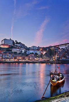Rabelos at dusk in  Porto,  Portugal