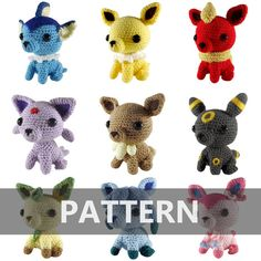 PATTERN Eevee + All 8 Evolutions Amigurumi Crochet Plushes PDF