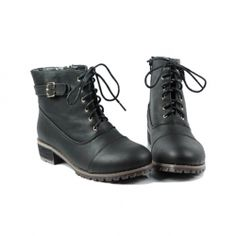 $22.58 Casual Women's Combat Boots With Solid Color Lace-Up Belt Chunky Heel Design