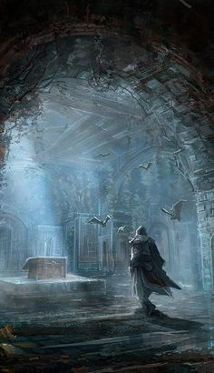 via Ano Mander and Nic Carpenter - A great piece of Assassin's Creed concept art. This could be Ezio maybe, perhaps in Assassin's Creed: Revelations. Gothic Fantasy Art, Medieval Fantasy, Fantasy Artwork, Dark Fantasy, Fantasy Places, Fantasy World, Art And Illustration, Arte Assassins Creed, Elfen Fantasy