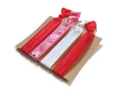Elastic Hair Ties Patterned Hearts No Crease Yoga Hair Bands #hairties #hairbands #nocrease #ponytailholders #hearts #red #pink #white
