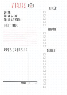 planning de viaje para imprimir