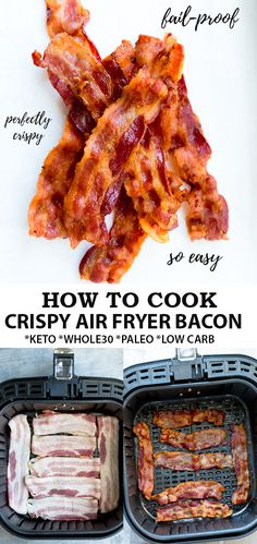 Air Fryer Bacon is the easiest way to make bacon without the mess. Learn how to cook perfectly crispy bacon for a keto, low carb, paleo breakfast! Air Fryer Oven Recipes, Air Frier Recipes, Air Fryer Dinner Recipes, Air Fry Bacon, Bacon Bacon, Fried Bacon Recipes, Oven Bacon, Bacon Pasta, Candied Bacon