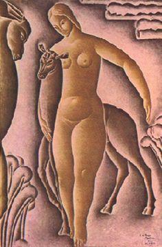 Diana [Mulher e Corça] [A Mulher e a Corça] 1926 | Vicente do Rego Monteiro óleo sobre tela, c.i.d. 93.00 x 68.00 cm