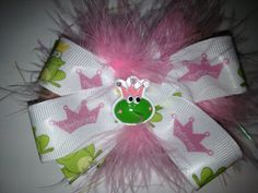 Princess and Frog Prince Stacked Hair Bow by LetThemWearHairBows, $7.00