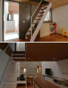 loft bridge with stairs | Innovative, Thin 'Home Within a Home' – Perfect Dense Urban Loft