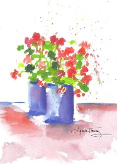 Geraniums Watercolor Painting by lauratrevey on Etsy, $38.00