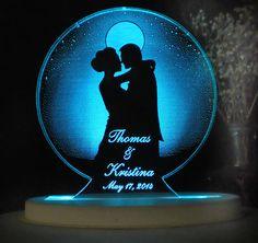 Moonlight Love  Wedding Cake Topper   Engraved & by artZengraving, $29.00