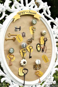 """Graduation Party Theme - Keys to Success: Great inspiration can be found here! A lot of these decorations can be a DIY project! This image for example, find an old, cool frame at a thrift store, paint it with Rust-Oleum Ultra Cover 2X (in the color of your choice: http://www.rustoleum.com/en/product-catalog/consumer-brands/painters-touch-ultra-cover-2x ) and fill with cork board from a craft store so decorative pins can be used to hold the """"keys to success"""" and decorate the board!"""