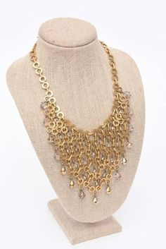 French Geometric Brass & Swarovski Faceted Crystal Necklace  1970