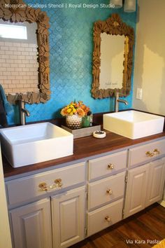 Stencil yourself a bold custom furniture look on a vintage dresser or cabinet with our Moroccan Scallops Furniture Stencil. Decorate your home with a geometric fish scale design that is a classic patt