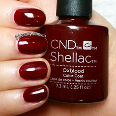 Happy Monday!  Meet the new color in our shellac family.  #oxblood  My customers asking me for more red colours.  So I finally got it.  There are actually 7 more new colours with pastel tones, more nude colours and couple pink colours as well but this one you will love. It really looks like a blood. :-)  #jkbeautyservices #mobilebeauty #mobilenails #jesskoroleva #Melbourne #autumninmelbourne #shellac #CND #drymanicure